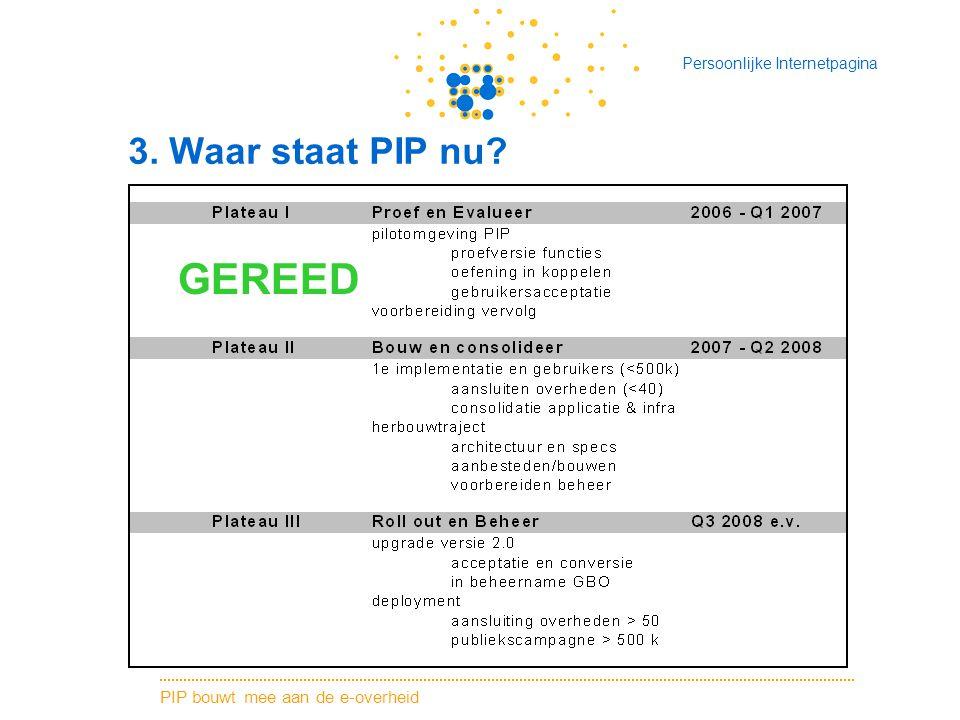 PIP bouwt mee aan de e-overheid Persoonlijke Internetpagina 3. Waar staat PIP nu? GEREED