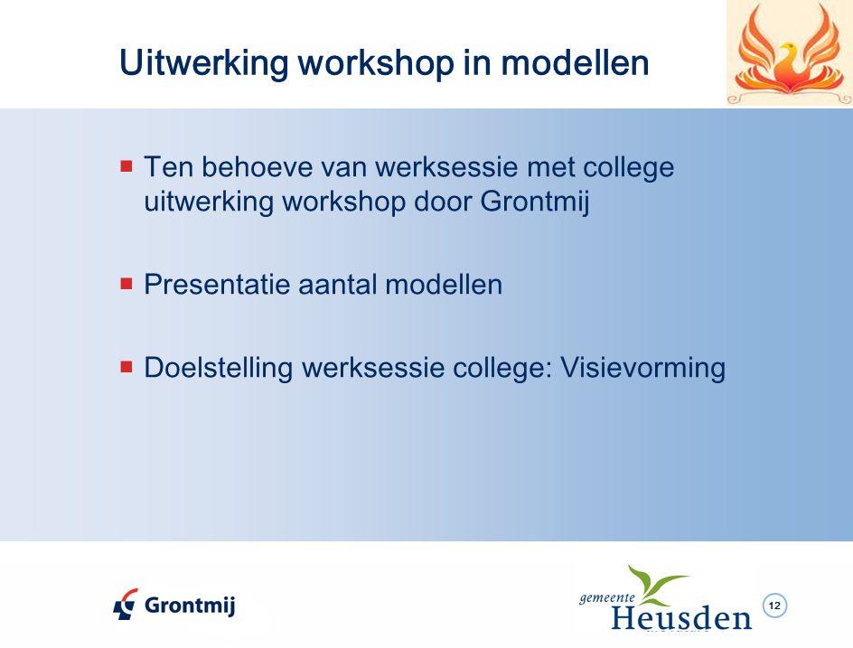 12  Ten behoeve van werksessie met college uitwerking workshop door Grontmij  Presentatie aantal modellen  Doelstelling werksessie college: Visievorming Uitwerking workshop in modellen