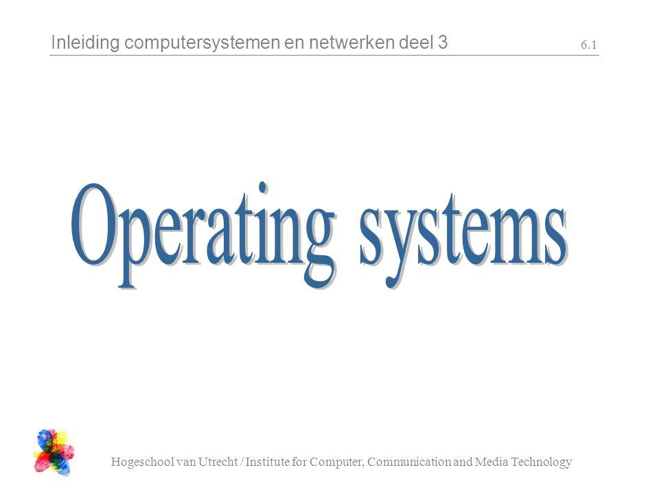 Inleiding computersystemen en netwerken deel 3 Hogeschool van Utrecht / Institute for Computer, Communication and Media Technology 6.32 Geheugenprotectie processen mogen elkaar niet hinderen processen moeten data-geheugen kunnen delen programma-coden moet kunnen worden gedeeld