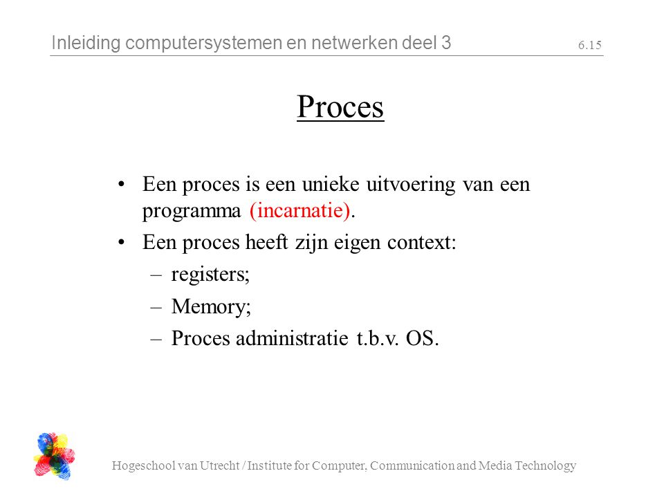 Inleiding computersystemen en netwerken deel 3 Hogeschool van Utrecht / Institute for Computer, Communication and Media Technology 6.15 Proces Een pro