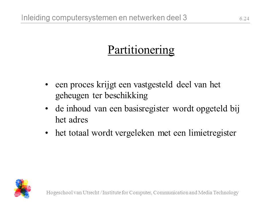 Inleiding computersystemen en netwerken deel 3 Hogeschool van Utrecht / Institute for Computer, Communication and Media Technology 6.24 Partitionering