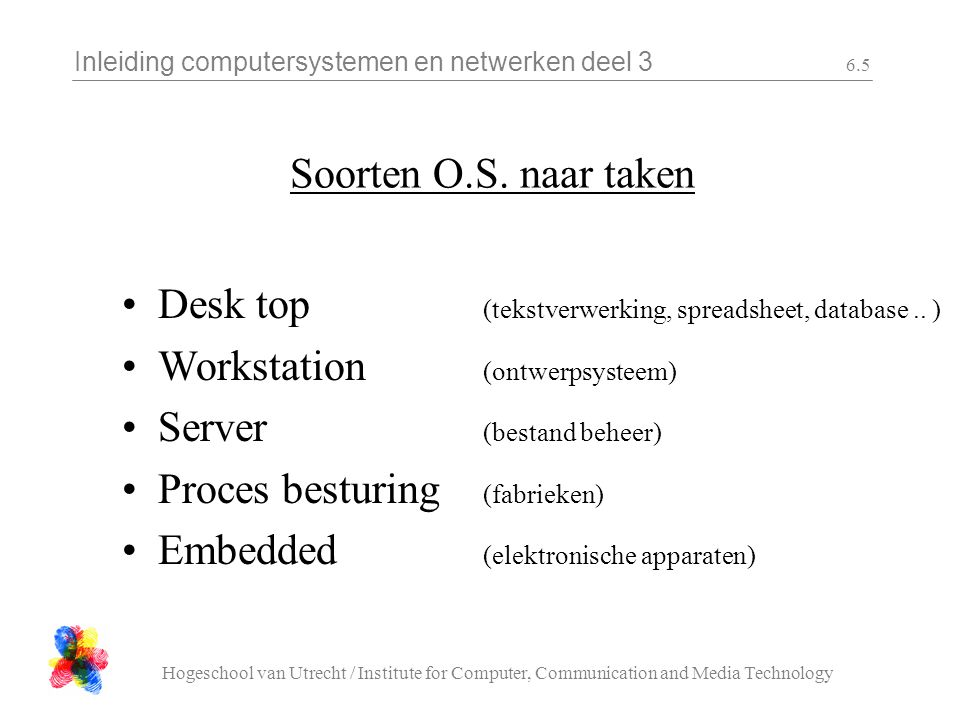 Inleiding computersystemen en netwerken deel 3 Hogeschool van Utrecht / Institute for Computer, Communication and Media Technology 6.6 Taken van het OS Systeem initialisatie (Boot, SysInit, etc.) Geheugenbeheer (space management) CPU-beheer (time management) Communicatie en synchronisatie (transpute management)