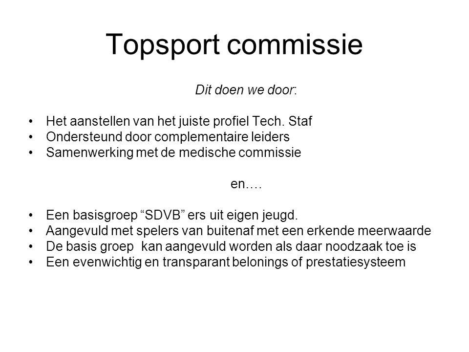 Topsport commissie Dit doen we door: Het aanstellen van het juiste profiel Tech. Staf Ondersteund door complementaire leiders Samenwerking met de medi