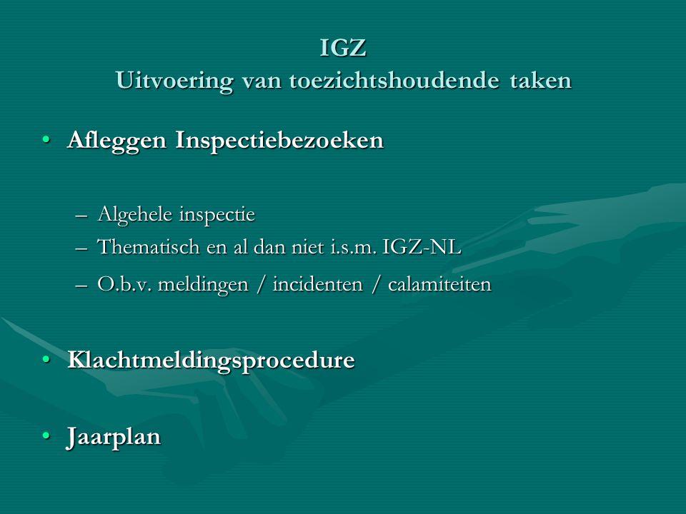 IGZ Uitvoering van toezichtshoudende taken Afleggen InspectiebezoekenAfleggen Inspectiebezoeken –Algehele inspectie –Thematisch en al dan niet i.s.m.