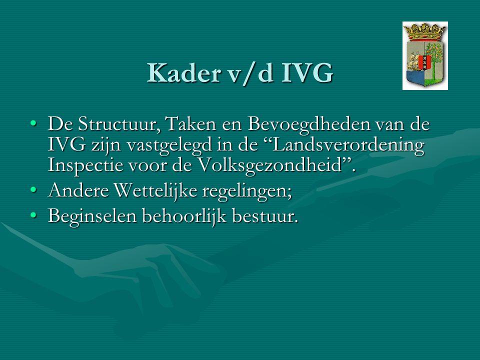 Kader v/d IVG De Structuur, Taken en Bevoegdheden van de IVG zijn vastgelegd in de Landsverordening Inspectie voor de Volksgezondheid .De Structuur, Taken en Bevoegdheden van de IVG zijn vastgelegd in de Landsverordening Inspectie voor de Volksgezondheid .