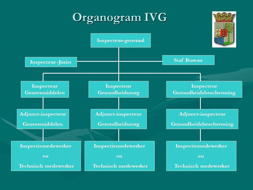 Hiërarchische verhoudingen binnen IVG Inspecteur-generaal:Inspecteur-generaal: –heeft een coördinerende rol binnen de IVG; –neemt aanwijzingen (van algemene aard) van de Minister in acht; –kan aanwijzingen (van algemene aard) geven aan de Inspecteurs.