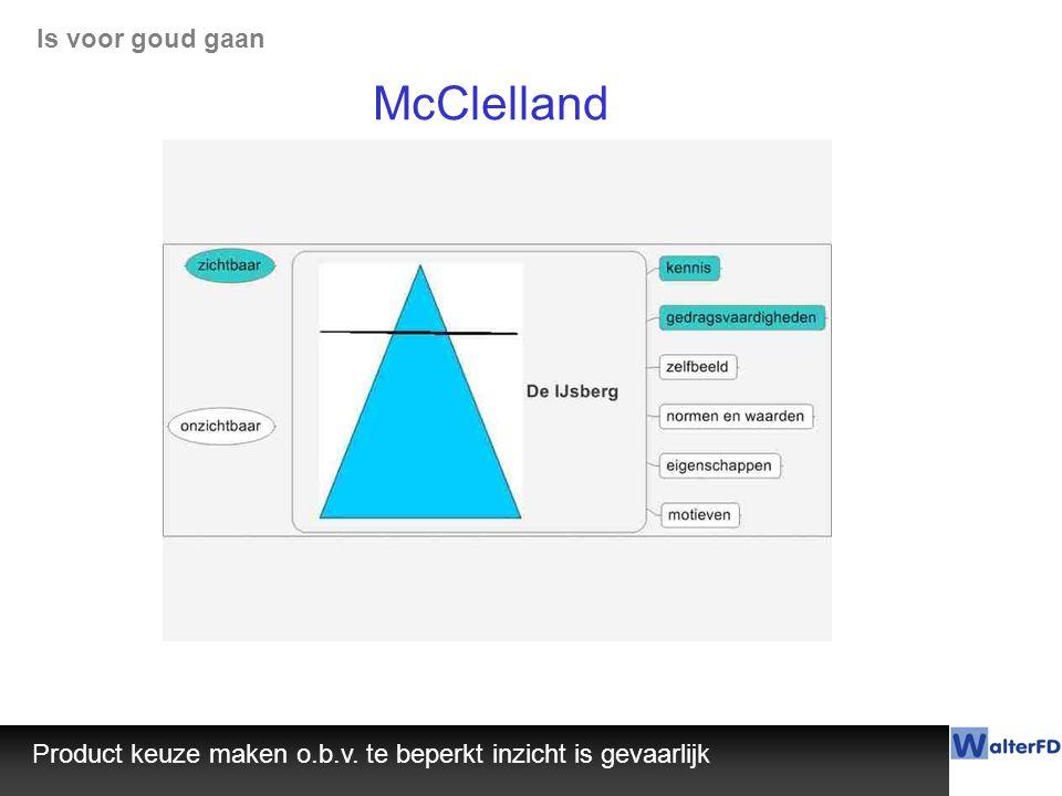 McClelland Product keuze maken o.b.v. te beperkt inzicht is gevaarlijk Is voor goud gaan