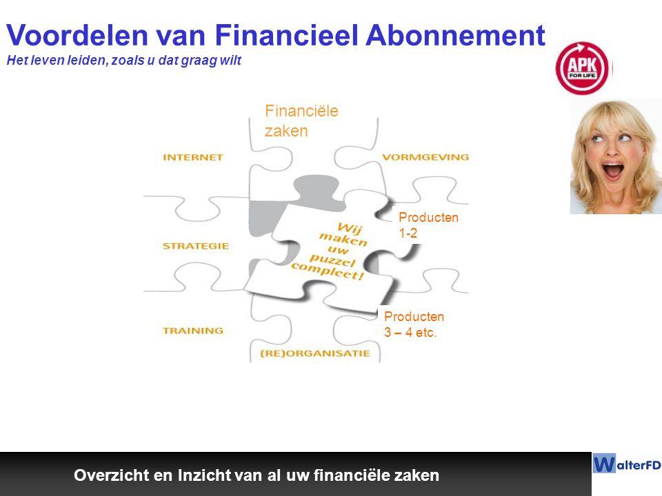 Voordelen van Financieel Abonnement Het leven leiden, zoals u dat graag wilt Overzicht en Inzicht van al uw financiële zaken Financiële zaken Producten 1-2 Producten 3 – 4 etc.