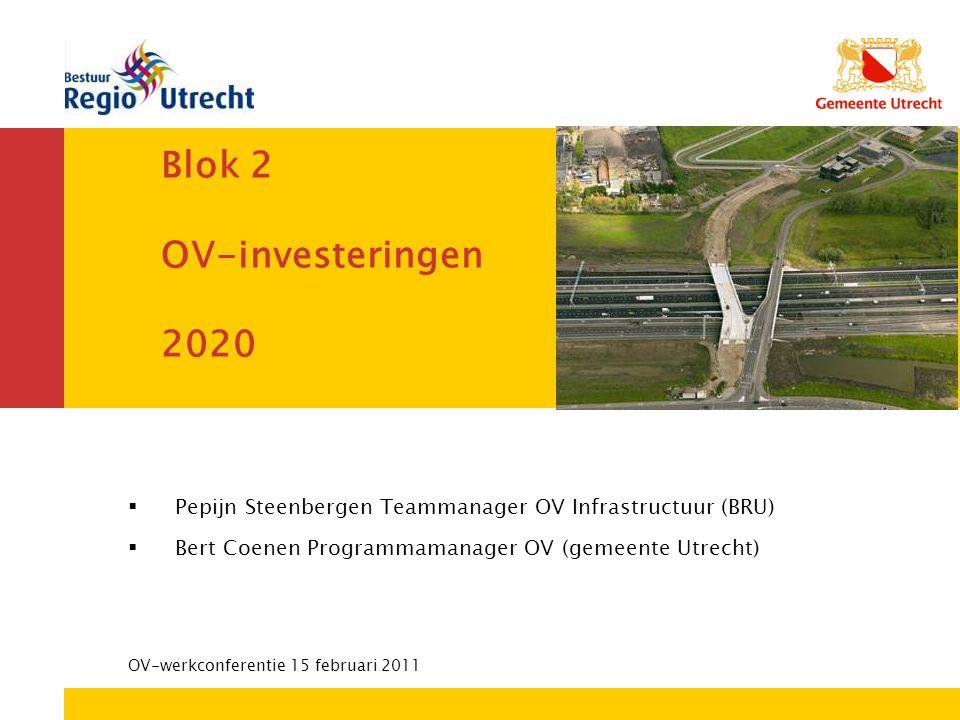 Bestuurs- en Concerndienst Blok 2 OV-investeringen 2020  Pepijn Steenbergen Teammanager OV Infrastructuur (BRU)  Bert Coenen Programmamanager OV (ge