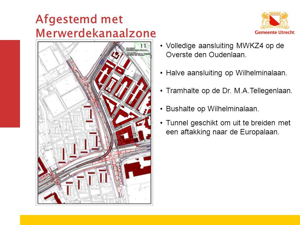 Volledige aansluiting MWKZ4 op de Overste den Oudenlaan. Halve aansluiting op Wilhelminalaan. Tramhalte op de Dr. M.A.Tellegenlaan. Bushalte op Wilhel