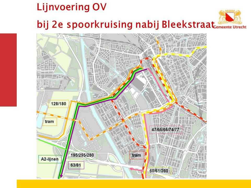 195/295/280 A2-lijnen tram 128/180 60/61/260 47/65/66/74/77 63/81 tram Lijnvoering OV bij 2e spoorkruising nabij Bleekstraat