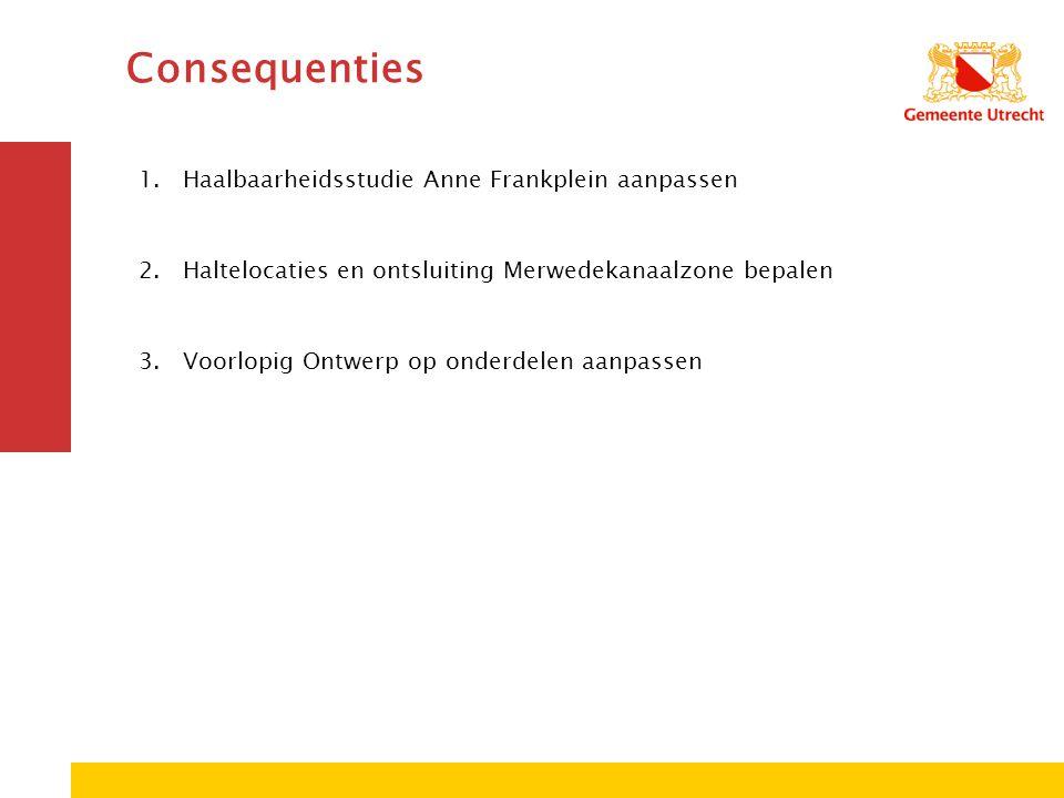 Consequenties 1.Haalbaarheidsstudie Anne Frankplein aanpassen 2.Haltelocaties en ontsluiting Merwedekanaalzone bepalen 3.Voorlopig Ontwerp op onderdel