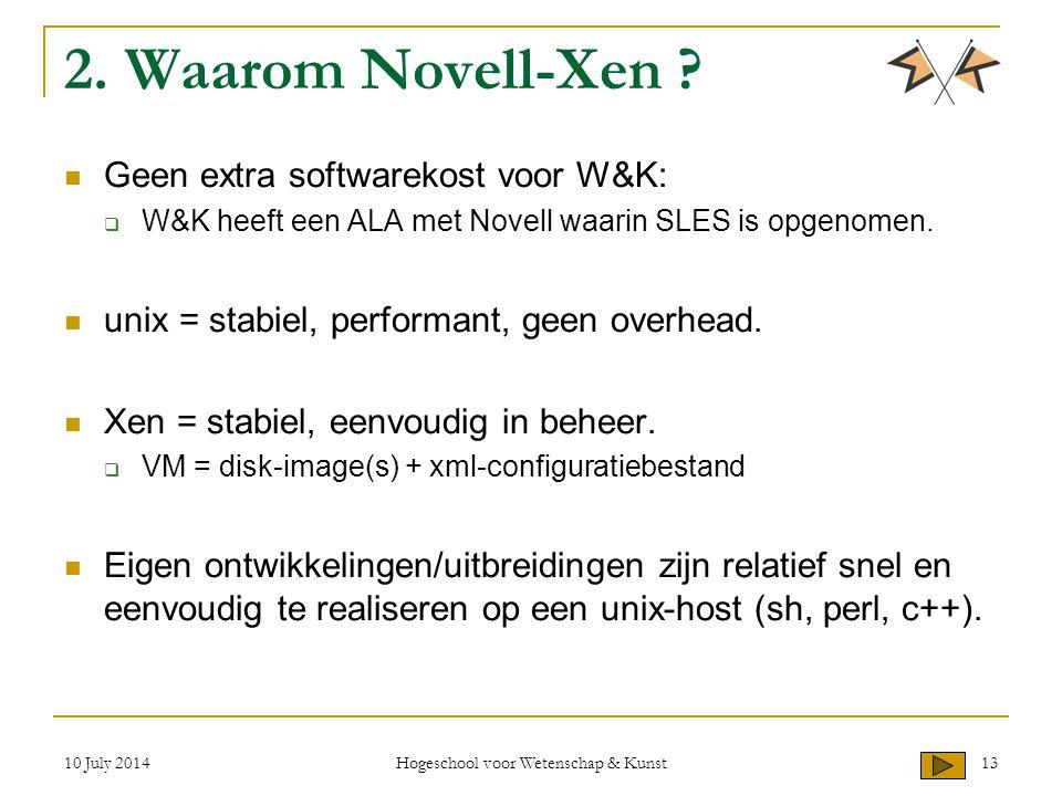 2. Waarom Novell-Xen ? Geen extra softwarekost voor W&K:  W&K heeft een ALA met Novell waarin SLES is opgenomen. unix = stabiel, performant, geen ove
