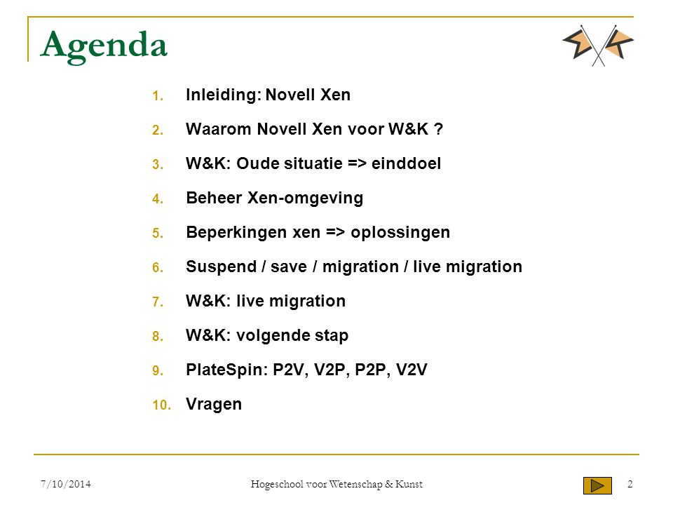 Agenda 1. Inleiding: Novell Xen 2. Waarom Novell Xen voor W&K ? 3. W&K: Oude situatie => einddoel 4. Beheer Xen-omgeving 5. Beperkingen xen => oplossi