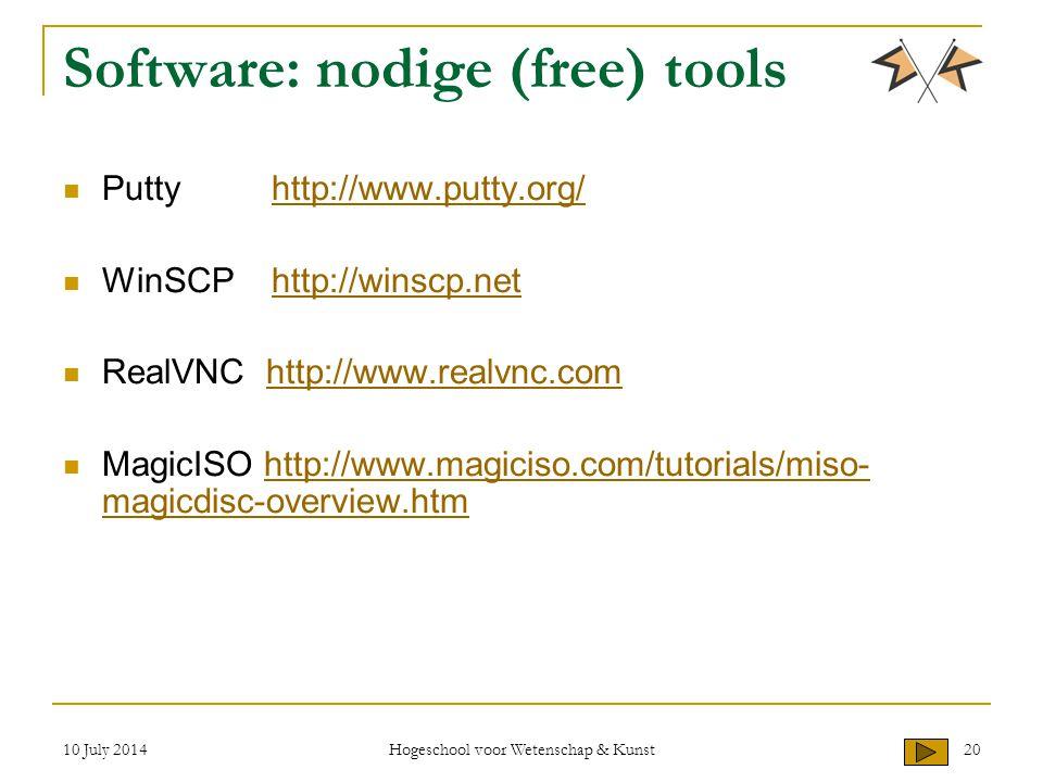 10 July 2014 Hogeschool voor Wetenschap & Kunst 20 Software: nodige (free) tools Puttyhttp://www.putty.org/http://www.putty.org/ WinSCPhttp://winscp.nethttp://winscp.net RealVNC http://www.realvnc.comhttp://www.realvnc.com MagicISO http://www.magiciso.com/tutorials/miso- magicdisc-overview.htmhttp://www.magiciso.com/tutorials/miso- magicdisc-overview.htm