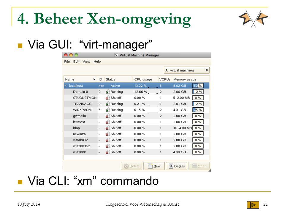 """10 July 2014 Hogeschool voor Wetenschap & Kunst 21 4. Beheer Xen-omgeving Via GUI: """"virt-manager"""" Via CLI: """"xm"""" commando"""