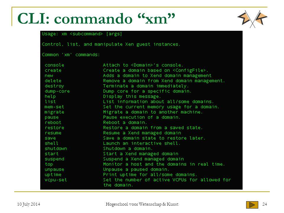 """10 July 2014 Hogeschool voor Wetenschap & Kunst 24 CLI: commando """"xm"""""""