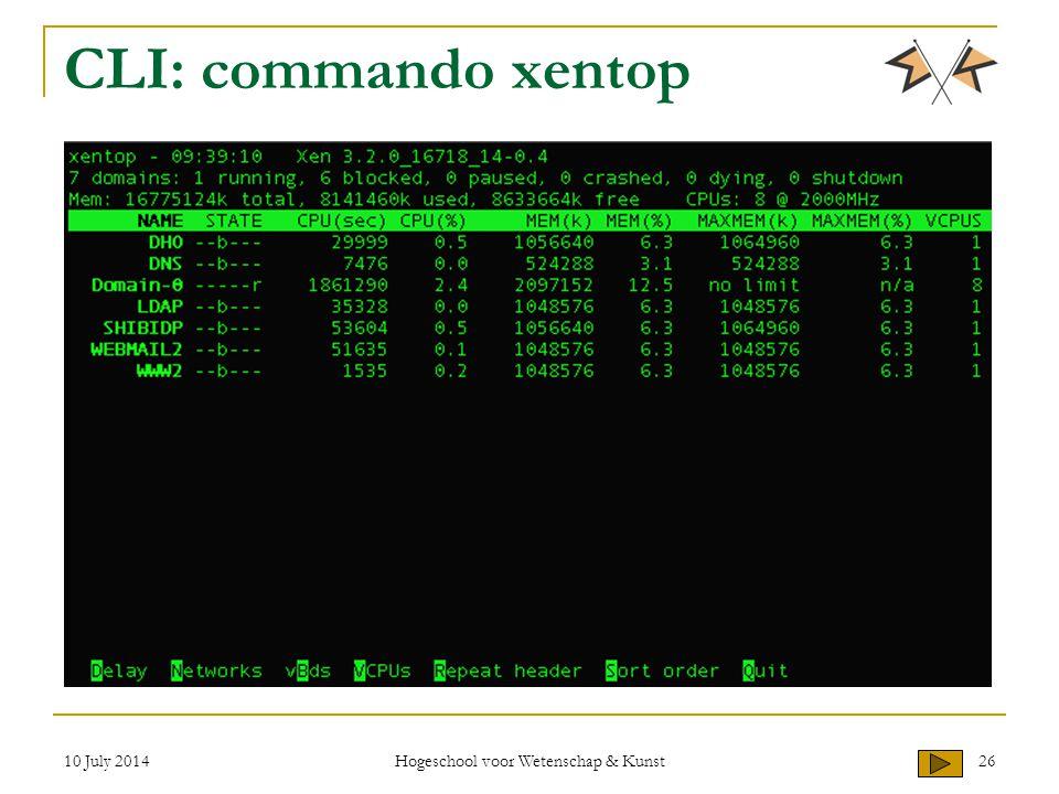 10 July 2014 Hogeschool voor Wetenschap & Kunst 26 CLI: commando xentop