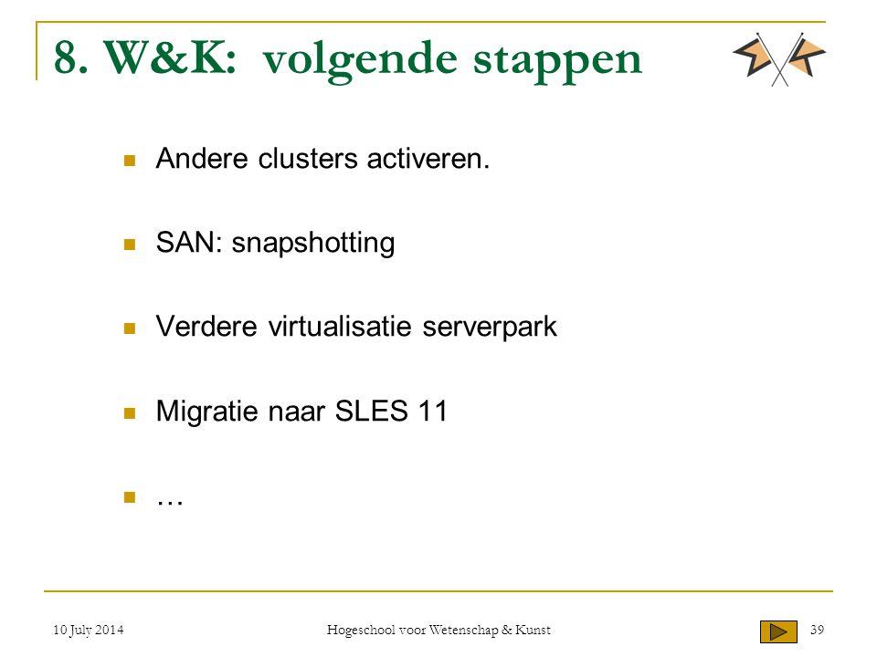 10 July 2014 Hogeschool voor Wetenschap & Kunst 39 8. W&K: volgende stappen Andere clusters activeren. SAN: snapshotting Verdere virtualisatie serverp