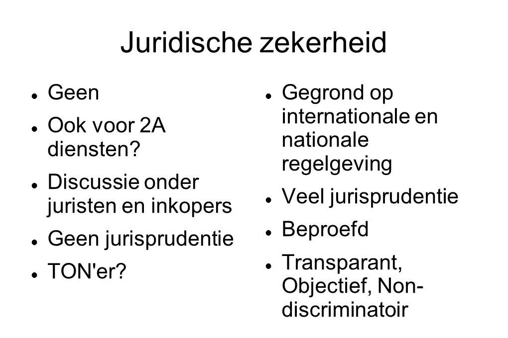 Juridische zekerheid Geen Ook voor 2A diensten.