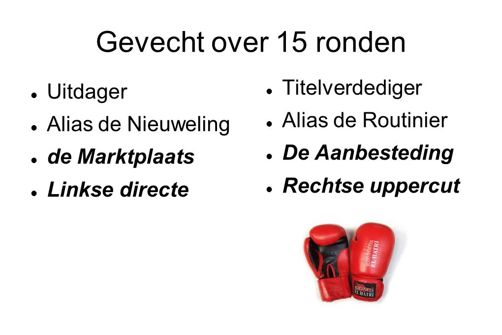 Gevecht over 15 ronden Uitdager Alias de Nieuweling de Marktplaats Linkse directe Titelverdediger Alias de Routinier De Aanbesteding Rechtse uppercut