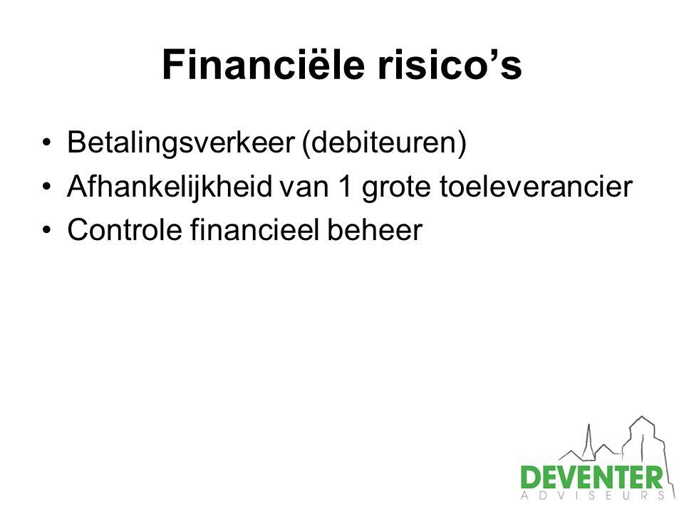 Financiële risico's Betalingsverkeer (debiteuren) Afhankelijkheid van 1 grote toeleverancier Controle financieel beheer