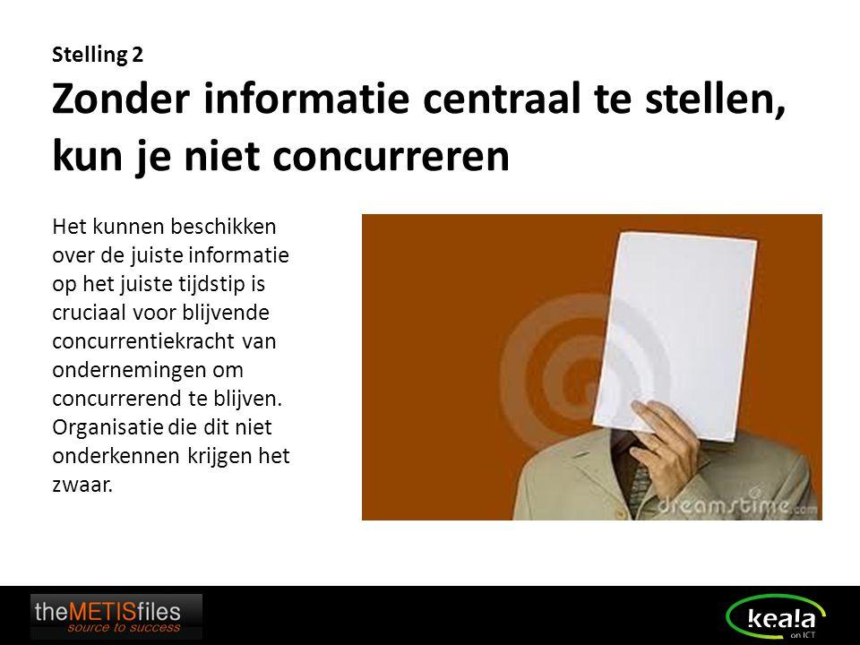 Stelling 2 Zonder informatie centraal te stellen, kun je niet concurreren Het kunnen beschikken over de juiste informatie op het juiste tijdstip is cr