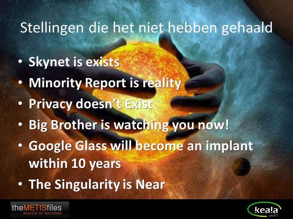 Stellingen die het niet hebben gehaald Skynet is exists Skynet is exists Minority Report is reality Minority Report is reality Privacy doesn't Exist P