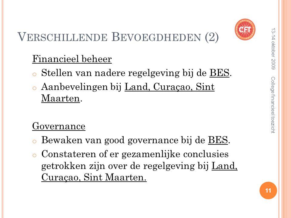 V ERSCHILLENDE B EVOEGDHEDEN (2) Financieel beheer o Stellen van nadere regelgeving bij de BES.
