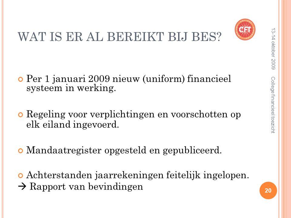WAT IS ER AL BEREIKT BIJ BES. Per 1 januari 2009 nieuw (uniform) financieel systeem in werking.