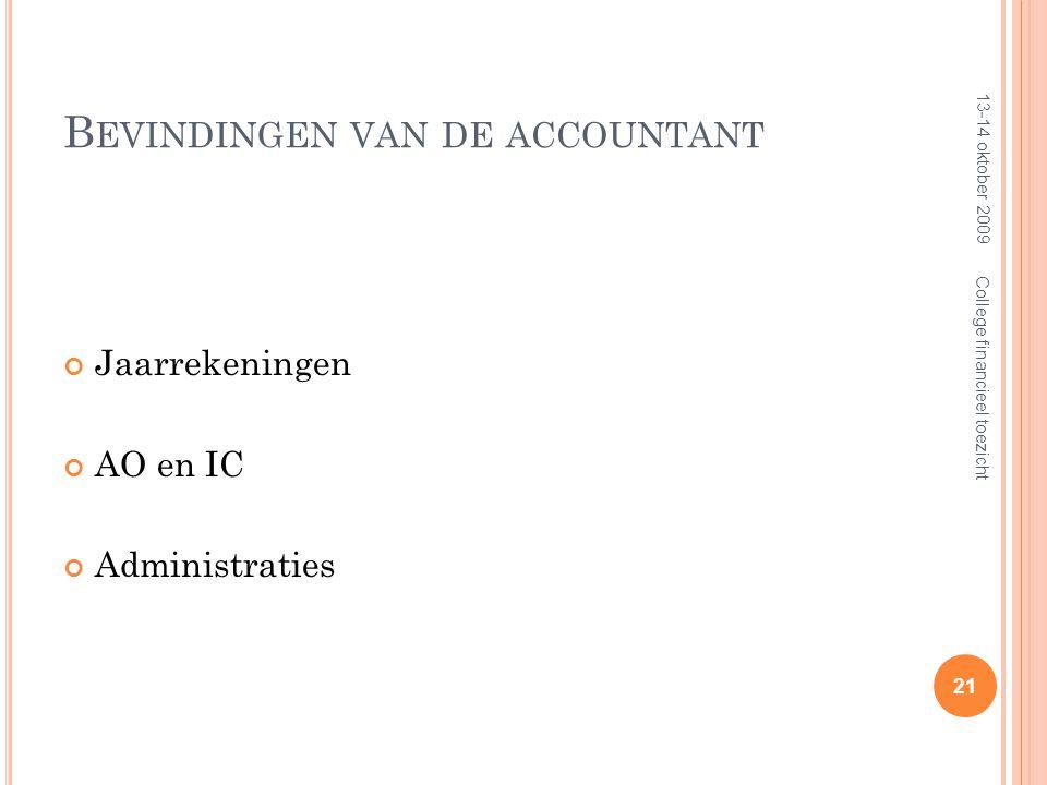 B EVINDINGEN VAN DE ACCOUNTANT Jaarrekeningen AO en IC Administraties 13-14 oktober 2009 21 College financieel toezicht