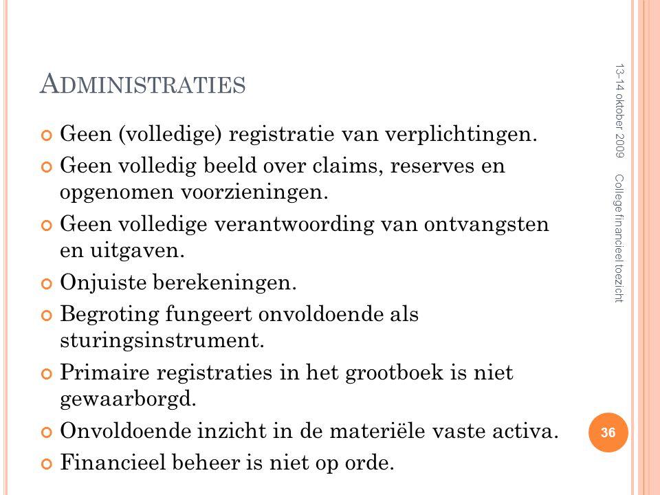 A DMINISTRATIES Geen (volledige) registratie van verplichtingen.