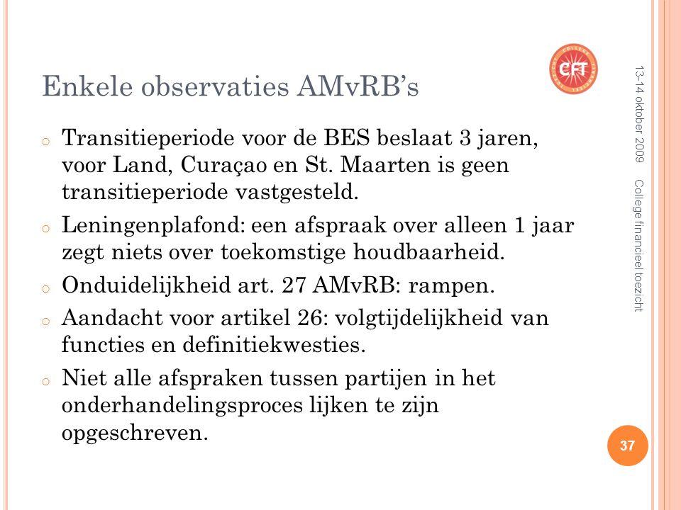 Enkele observaties AMvRB's o Transitieperiode voor de BES beslaat 3 jaren, voor Land, Curaçao en St.