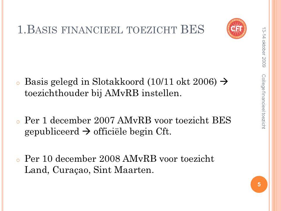 1.B ASIS FINANCIEEL TOEZICHT BES o Basis gelegd in Slotakkoord (10/11 okt 2006)  toezichthouder bij AMvRB instellen.