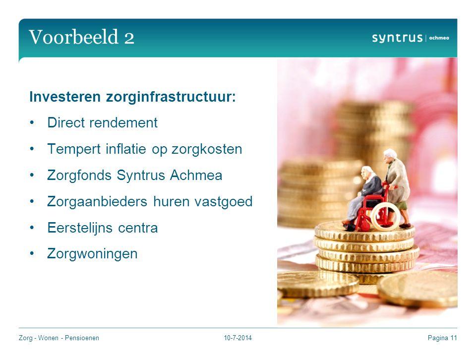 Voorbeeld 2 Investeren zorginfrastructuur: Direct rendement Tempert inflatie op zorgkosten Zorgfonds Syntrus Achmea Zorgaanbieders huren vastgoed Eerstelijns centra Zorgwoningen 10-7-2014Zorg - Wonen - PensioenenPagina 11
