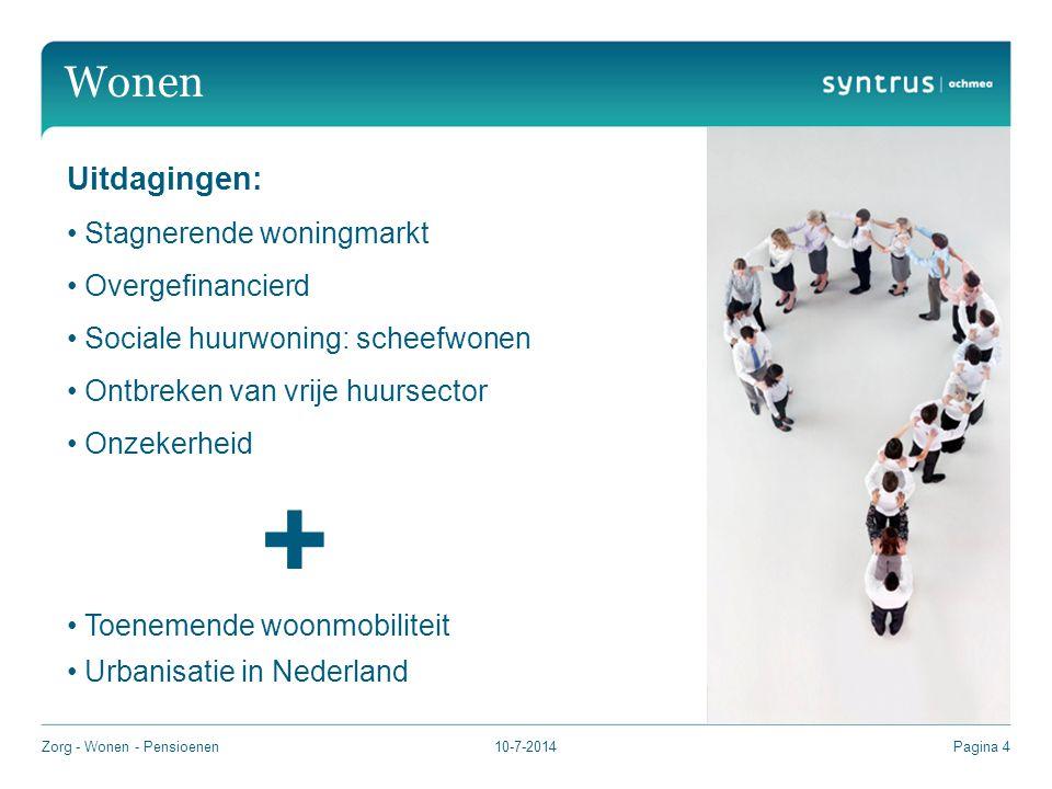 10-7-2014Pagina 4 Wonen Uitdagingen: Stagnerende woningmarkt Overgefinancierd Sociale huurwoning: scheefwonen Ontbreken van vrije huursector Onzekerheid + Toenemende woonmobiliteit Urbanisatie in Nederland Zorg - Wonen - Pensioenen