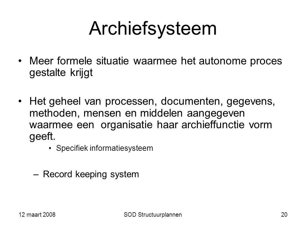 12 maart 2008SOD Structuurplannen20 Archiefsysteem Meer formele situatie waarmee het autonome proces gestalte krijgt Het geheel van processen, documen