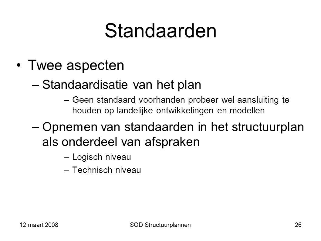 12 maart 2008SOD Structuurplannen26 Standaarden Twee aspecten –Standaardisatie van het plan –Geen standaard voorhanden probeer wel aansluiting te houd