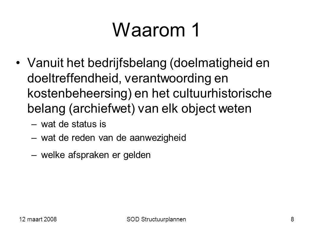 12 maart 2008SOD Structuurplannen8 Waarom 1 Vanuit het bedrijfsbelang (doelmatigheid en doeltreffendheid, verantwoording en kostenbeheersing) en het c