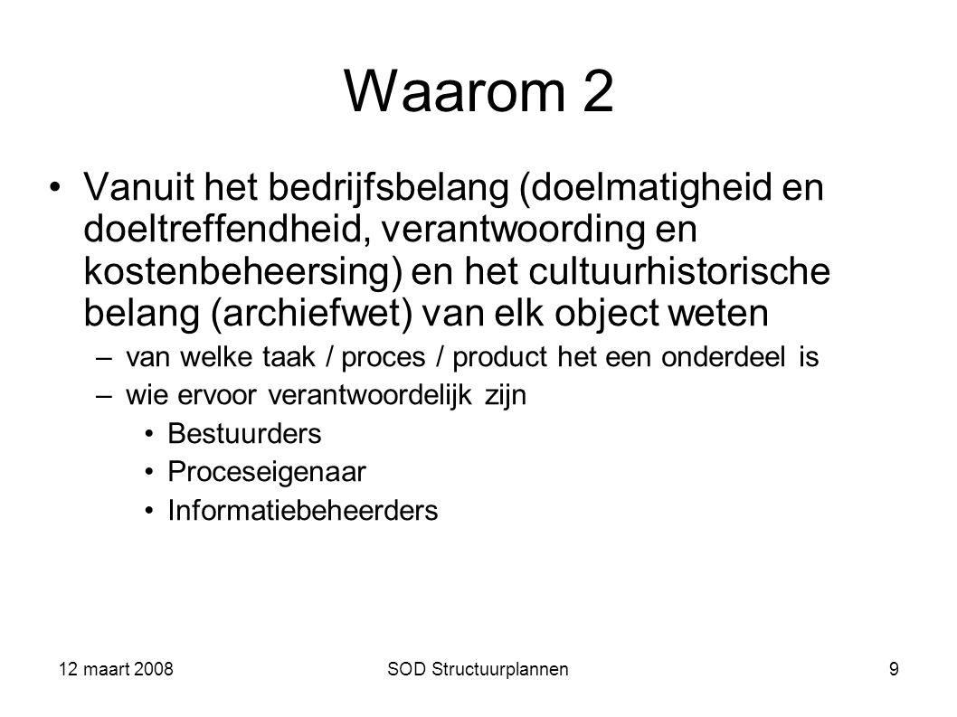 12 maart 2008SOD Structuurplannen9 Waarom 2 Vanuit het bedrijfsbelang (doelmatigheid en doeltreffendheid, verantwoording en kostenbeheersing) en het c