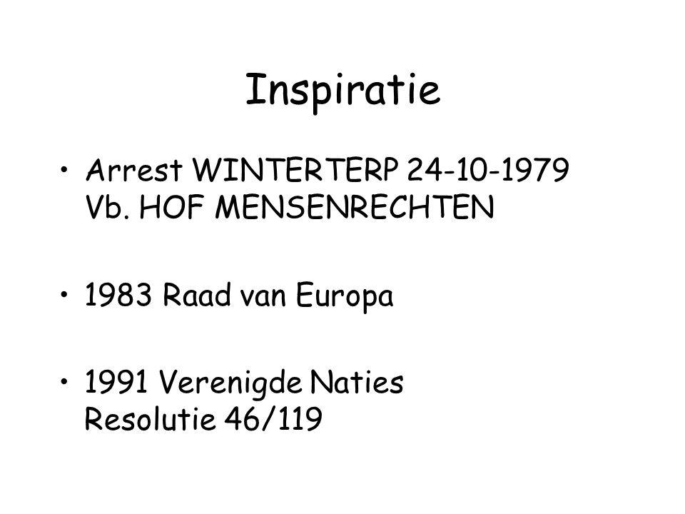 Inspiratie Arrest WINTERTERP 24-10-1979 Vb. HOF MENSENRECHTEN 1983 Raad van Europa 1991 Verenigde Naties Resolutie 46/119