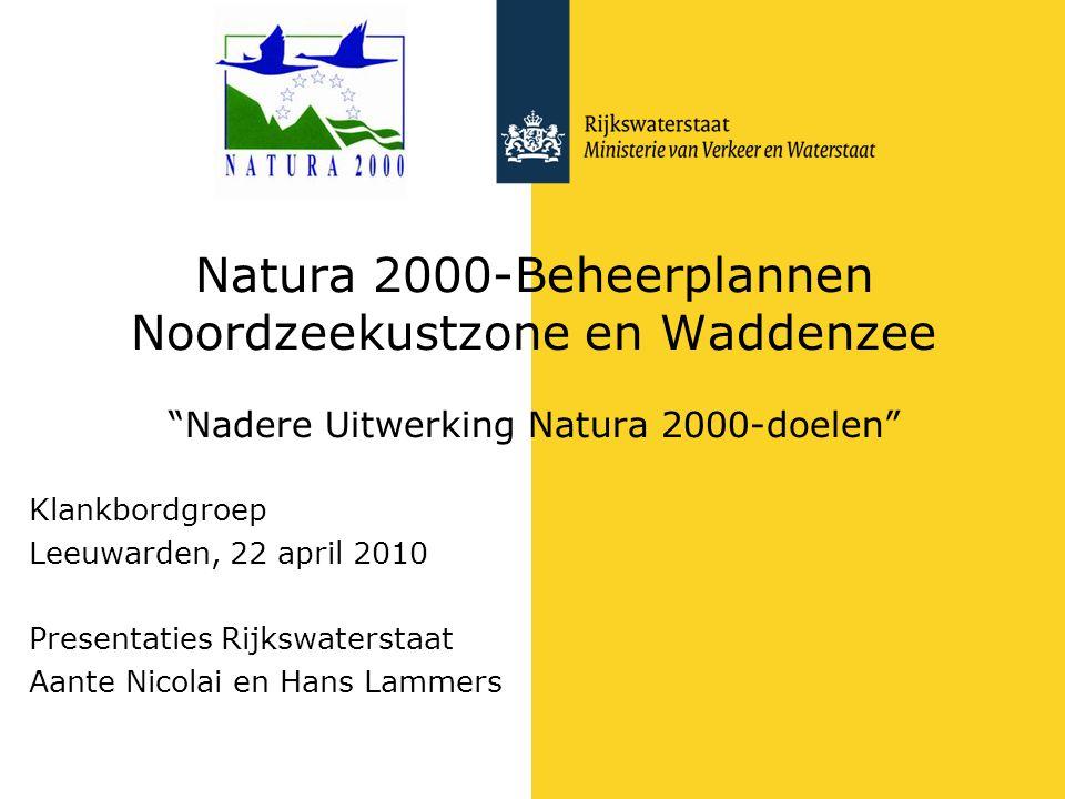 Natura 2000-Beheerplannen Noordzeekustzone en Waddenzee Nadere Uitwerking Natura 2000-doelen Klankbordgroep Leeuwarden, 22 april 2010 Presentaties Rijkswaterstaat Aante Nicolai en Hans Lammers