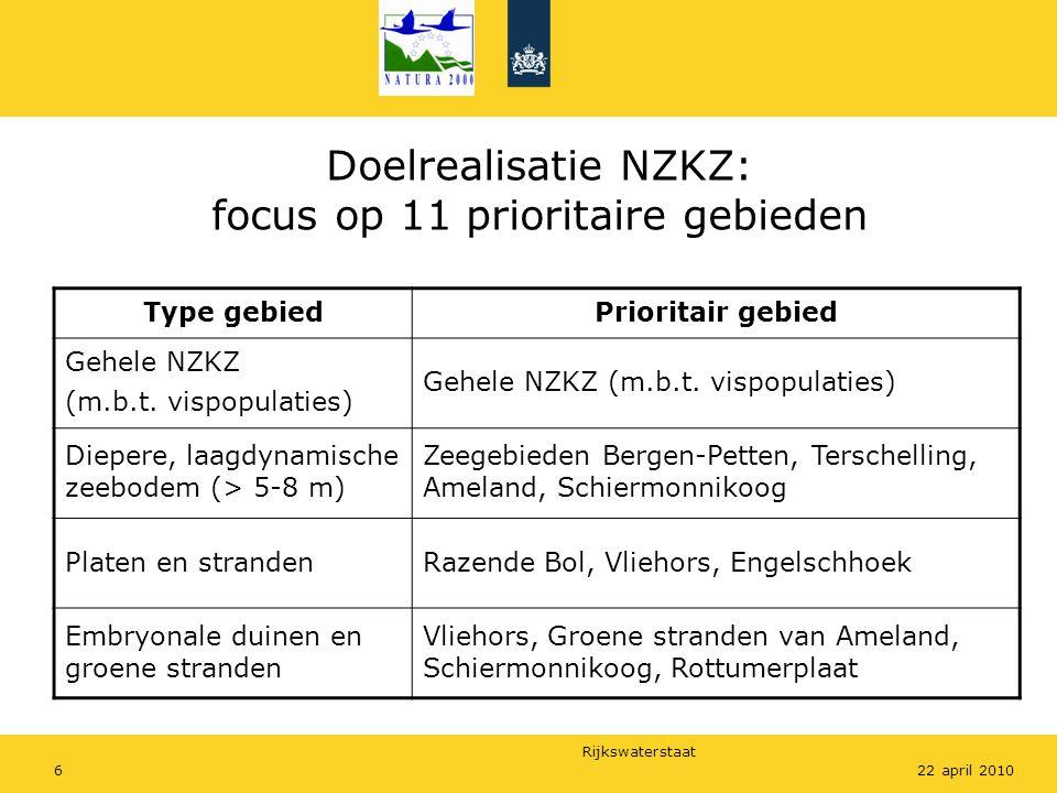 Rijkswaterstaat 622 april 2010 Doelrealisatie NZKZ: focus op 11 prioritaire gebieden Type gebiedPrioritair gebied Gehele NZKZ (m.b.t.