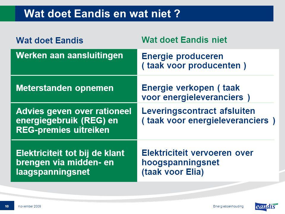 10 Energieboekhouding november 2009 Wat doet Eandis en wat niet .