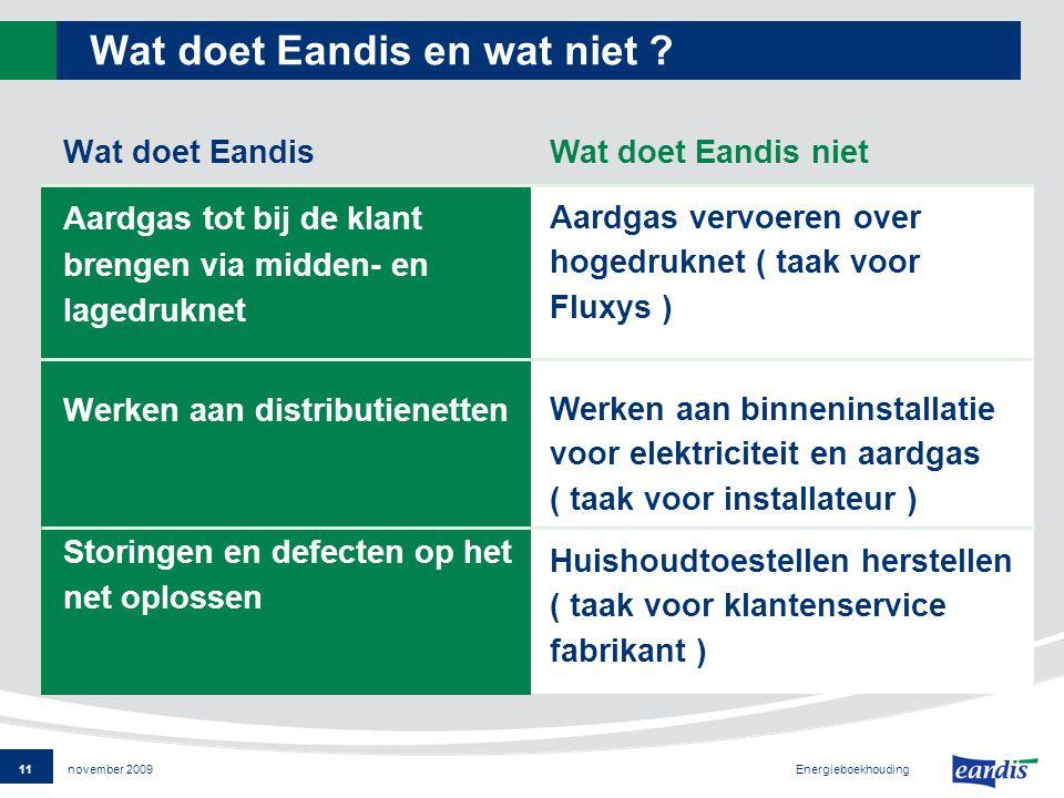 11 Energieboekhouding november 2009 Wat doet Eandis en wat niet .