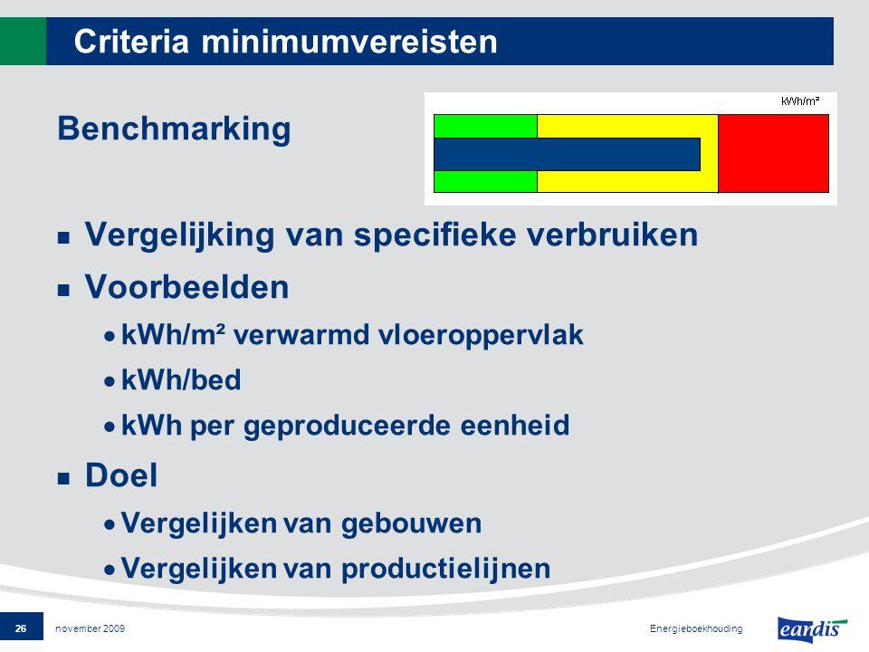 26 Energieboekhouding november 2009 Criteria minimumvereisten Benchmarking Vergelijking van specifieke verbruiken Voorbeelden  kWh/m² verwarmd vloeroppervlak  kWh/bed  kWh per geproduceerde eenheid Doel  Vergelijken van gebouwen  Vergelijken van productielijnen