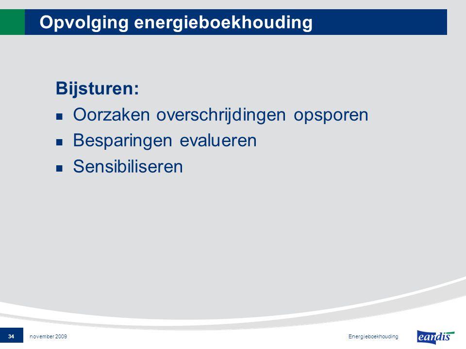 34 Energieboekhouding november 2009 Opvolging energieboekhouding Bijsturen: Oorzaken overschrijdingen opsporen Besparingen evalueren Sensibiliseren