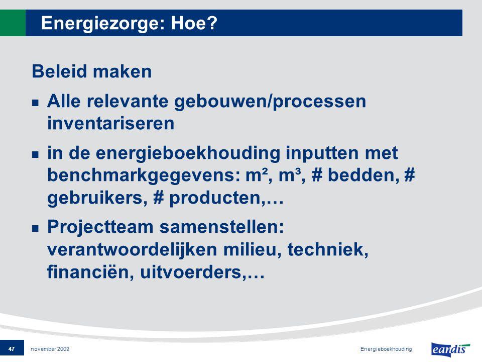 47 Energieboekhouding november 2009 Energiezorge: Hoe.