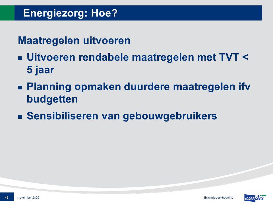 49 Energieboekhouding november 2009 Energiezorg: Hoe.