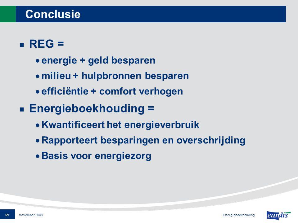 51 Energieboekhouding november 2009 Conclusie REG =  energie + geld besparen  milieu + hulpbronnen besparen  efficiëntie + comfort verhogen Energieboekhouding =  Kwantificeert het energieverbruik  Rapporteert besparingen en overschrijding  Basis voor energiezorg